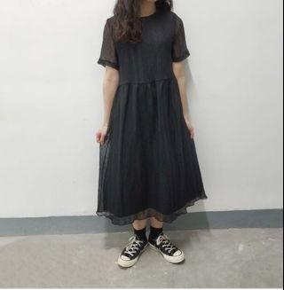 韓國黑色連衣裙