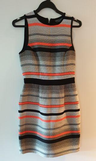 🚚 Warehouse orange black striped dress