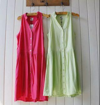 🚚 Brazil brand Hering Mandarin Collar Sleeveless button down dress in light green and hot pink
