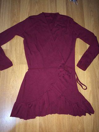 Burgundy Wrapped around waist Blouse