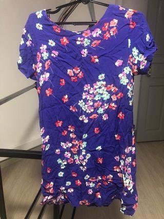 🚚 New Look Purple Blue Oriental Floral Print Shift Dress