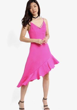 🚚 Miss Selfridge Fuchsia Hanky Hem Dress