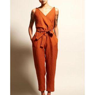 Alyoa V-Neck High Waist Belt Casual Jumpsuit