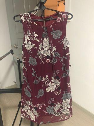 🚚 Primark Maroon Shift Dress with Monochrome Oriental Peony Floral Print