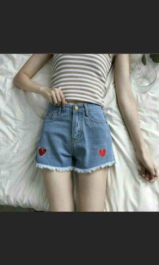 愛心牛仔短褲