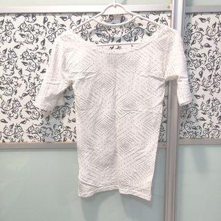 Wide Collar Minimalist Blouse, White & Silver