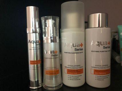 Aqua+ . Essence , cleansing water , toner + pelembab. Harga asli bisa 1jt+