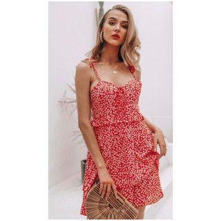 RED FLORAL MEADOWS DRESS S/M/L/