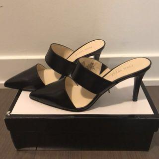 Nine West Black Leather Reginy Heels - Size 7.5 - new in box