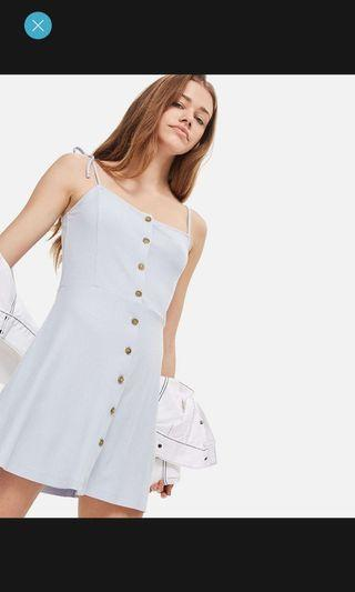 pastel blue ribbed button through dress