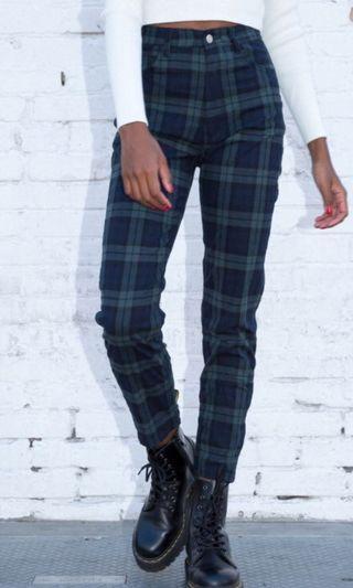 Brandy Melville green navy blue plaid checkered long jane tilden pants