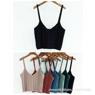 全新黑色針織吊帶線衫背心