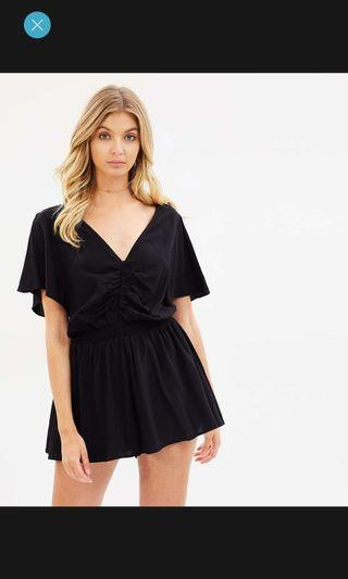 black v neck playsuit