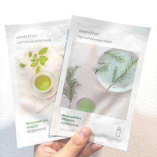 Innisfree My Real Squeeze Mask - Green Tea / Tea Tree, Korean Skincare Masks