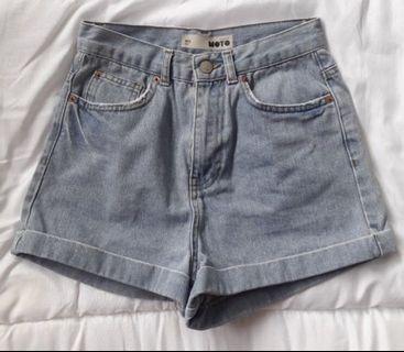 topshop moto light blue denim high waisted shorts