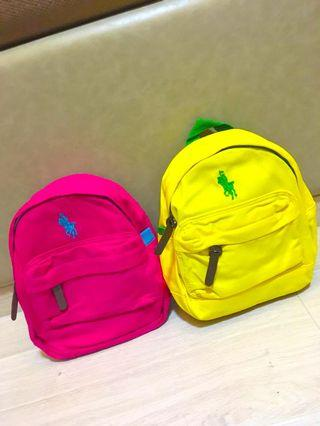 🚚 Polo kids bag. Pink, Green and yellow.