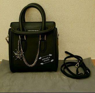 Alexander Mcqueen black mini heroine chained leather bag