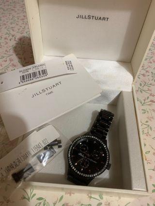 Jill Stuart 鑲鑽石黑鋼帶錶