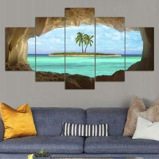 In stock - 5pcs Coconut Island Canvas Painting