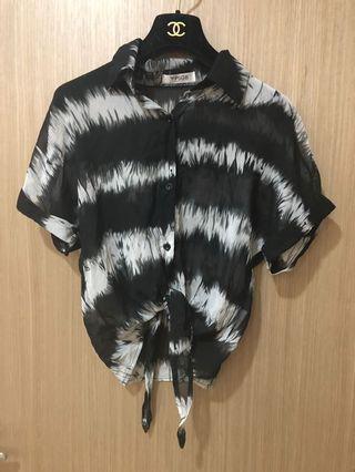 🚚 [奇怪的孩子]手繪斑馬紋綁結雪紡紗上衣