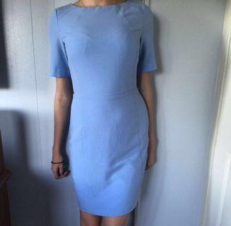 Blue Fitted Midi Dress - size 10 / M
