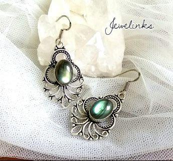 "Charming Labradorite Earrings 2"". Set in 925 Sterling Silver."