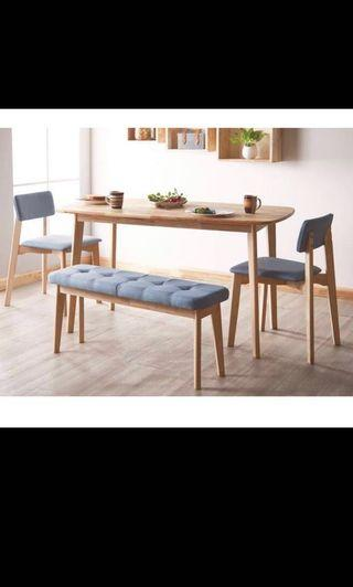 4 pcs Dining Set (Table + Bench + 2x Chair)