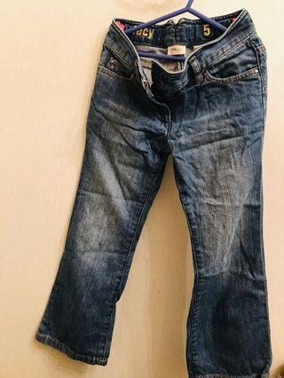 Girl's denim jeans high waist small bell bottoms 女童牛仔褲