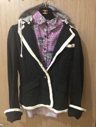 🚚 [奇怪的孩子]學院風黑白撞色厚棉質西裝外套