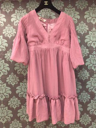🚚 [奇怪的孩子] Rose荷葉藕粉紅雪紡紗長洋裝