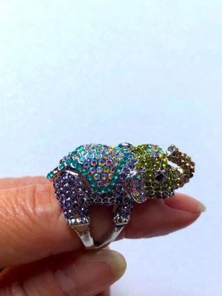 Statement Elephant Crystal Stone (Multi Colours) Ring