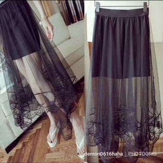 全新 黑色lace網紗透視包臀裙 彈性  black skirt