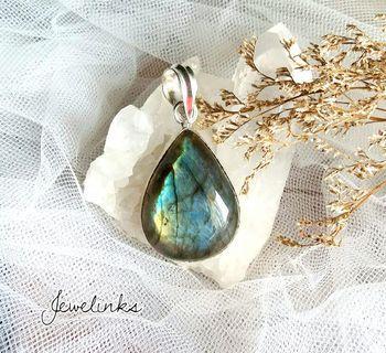 🚚 Beautiful Teardrop Shape Labradorite Pendant. Length 5 cm. Set in 925 Sterling Silver.