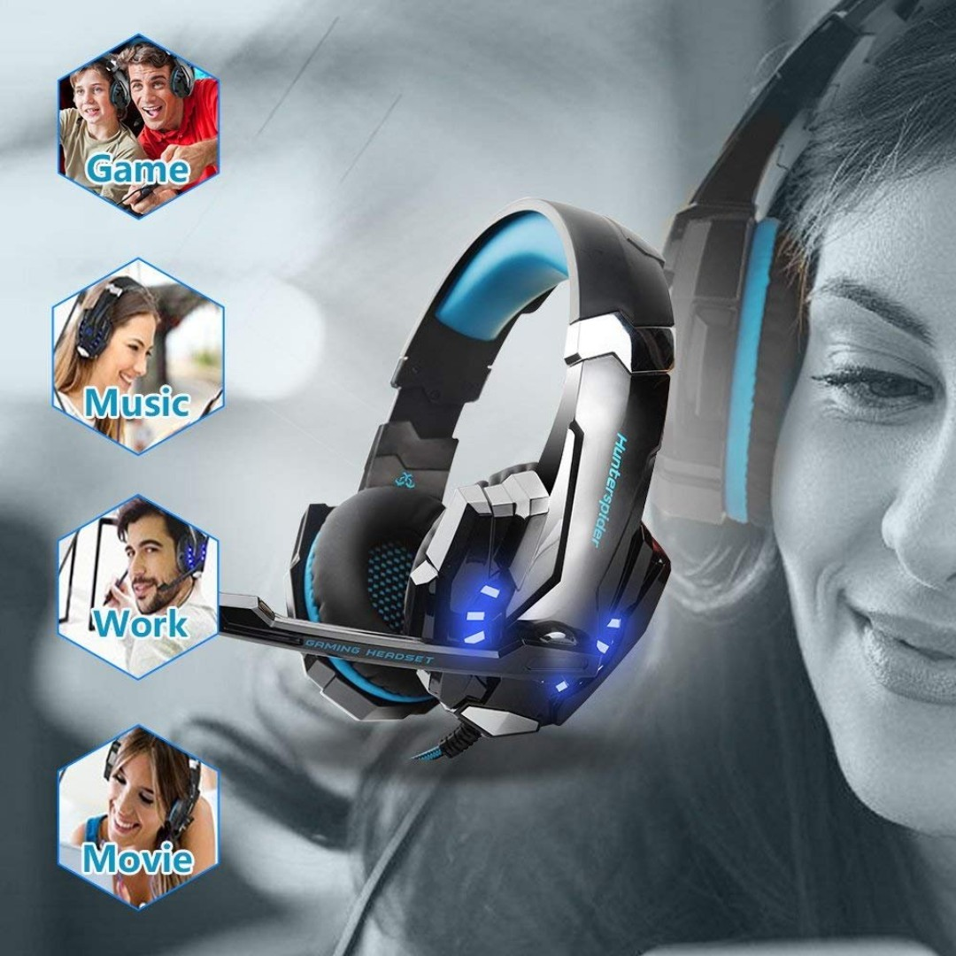 2608 Hunterspider Gaming Headset for PS4, Xbox One Headset with Mic, Noise  Cancelling Over Ear Headphones, LED Light, Bass Surround, Soft Memory