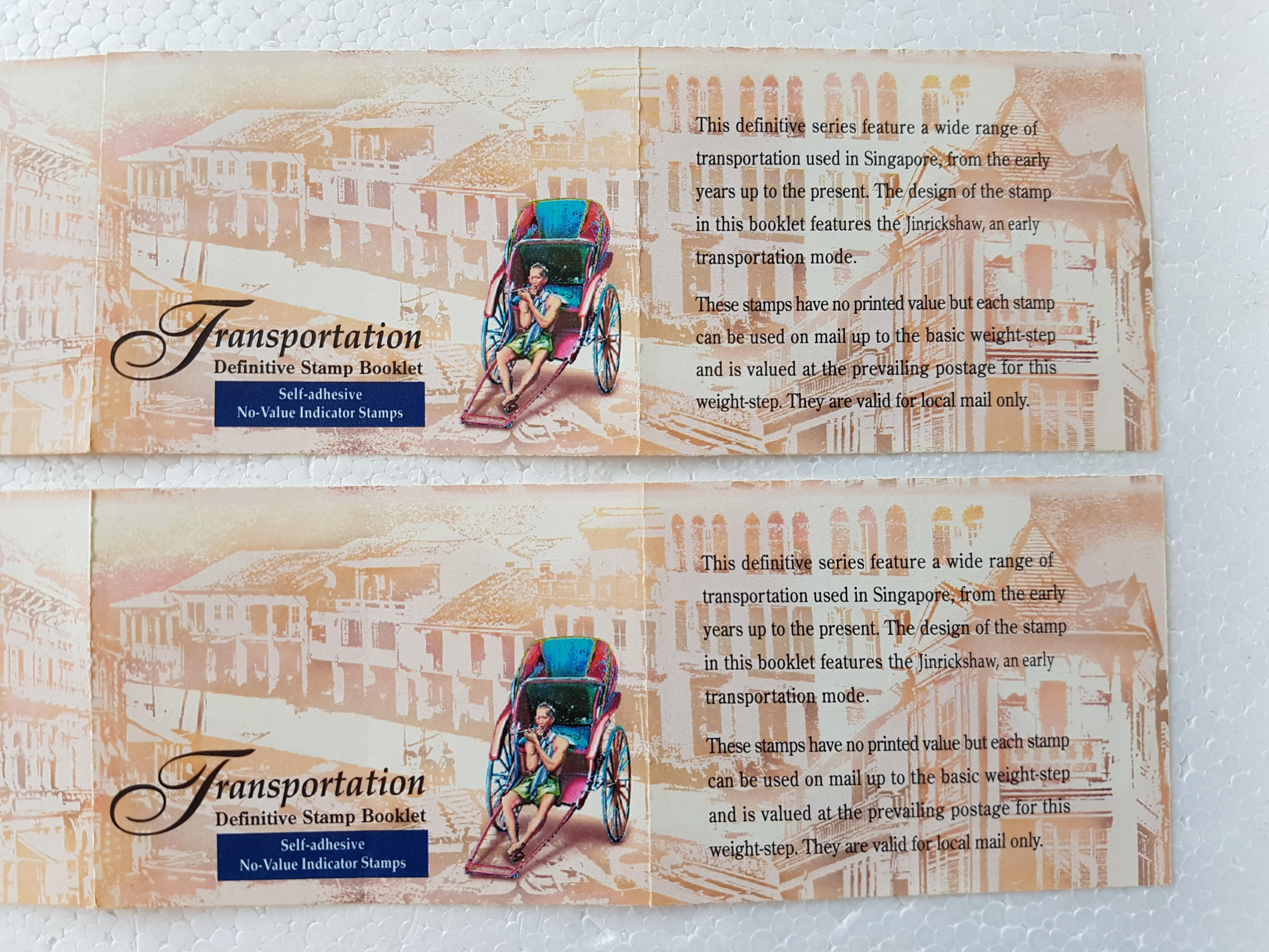 2 x 10 Stamps Transportation Definitive Stamp Booklet. Self-adhesive No Value Indicated Stamps