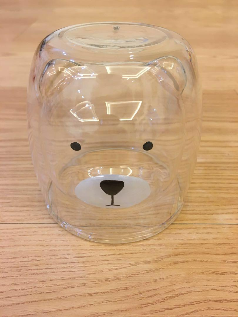 3D bear double layer glass