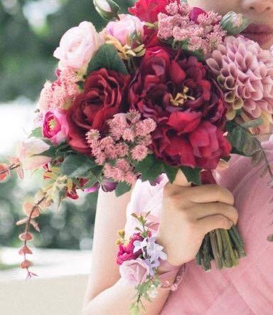 結婚花球 紅色絲花花球 10inch
