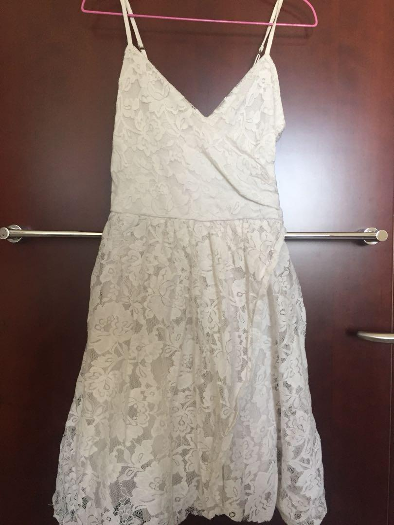 Abercrombie And Fitch White Lace Wrap Dress Womens Fashion