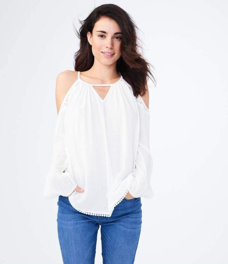 371e160c4a Aeropostale Cold-Shoulder Crinkled Top in Floral White, Women's ...