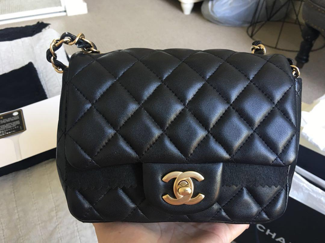 Authentic Chanel square mini in brushed gold hardware RARE AND SOLD OUT