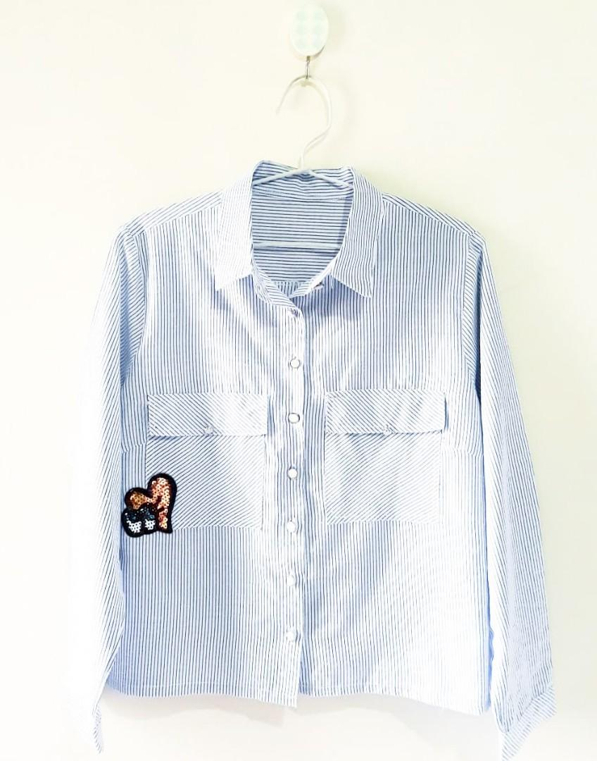 Baby Blue Stripes Patch Shirt