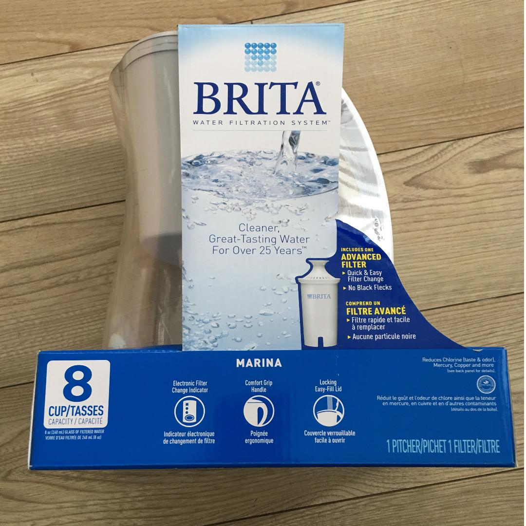 *Brand New* Brita Marina Water Filter Pitcher, with 1 Standard Filter, White, 8 Cup