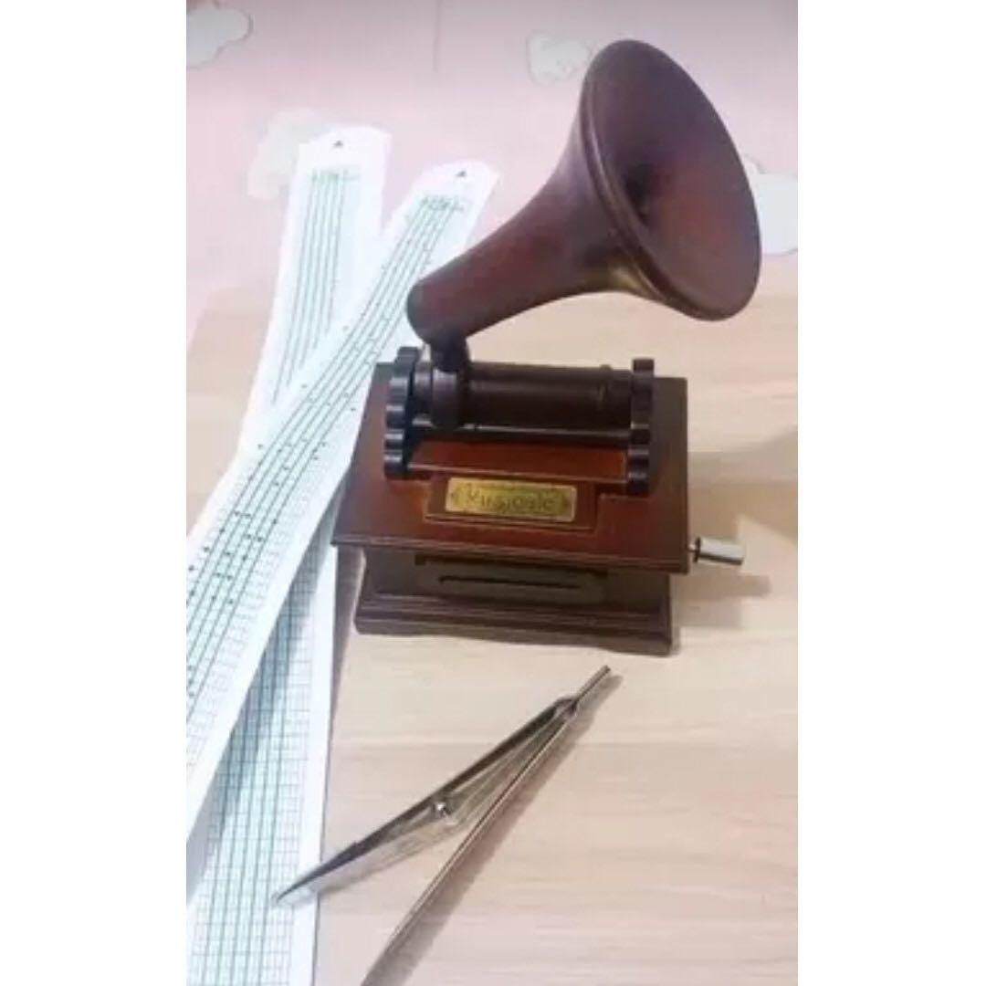 *Brand New* Music Musical Box Antique Vintage Retro Wooden Gramophone Phonograph & Make You Own Song with Tool Kit