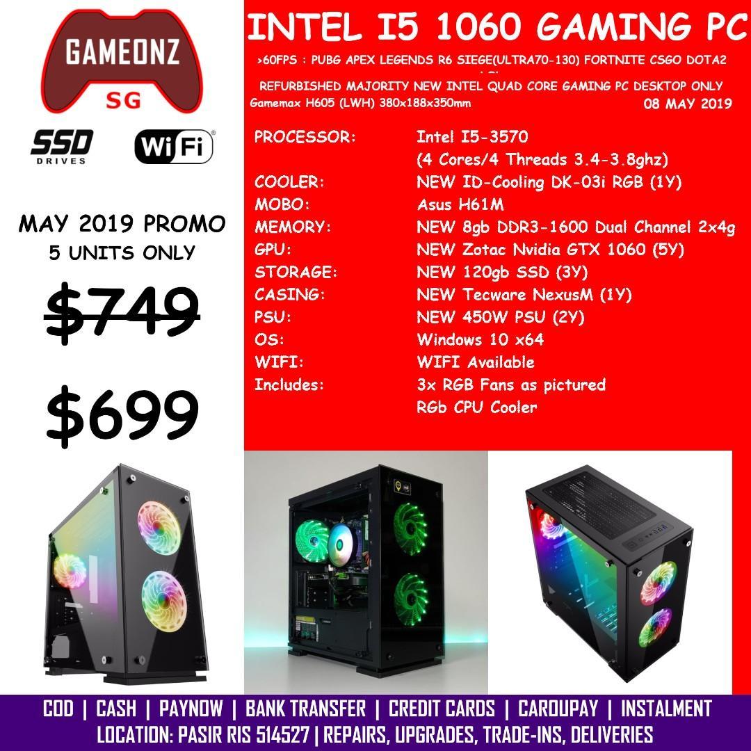 BUDGET I5 GAMING PC GAMEMAX H605-TA REFURBISHED INTEL I5