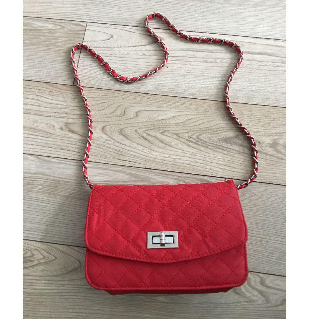 Faux Leather Red Quilted Crossbody Chain Shoulder Bag Handbag Purse