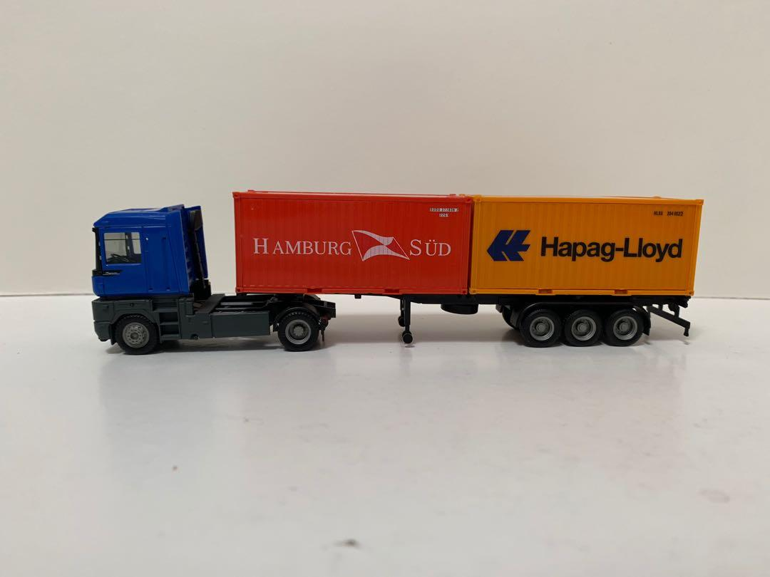 Herpa 1/87 Renault 雷諾車頭+ 40呎拖架和兩個 20 呎貨櫃