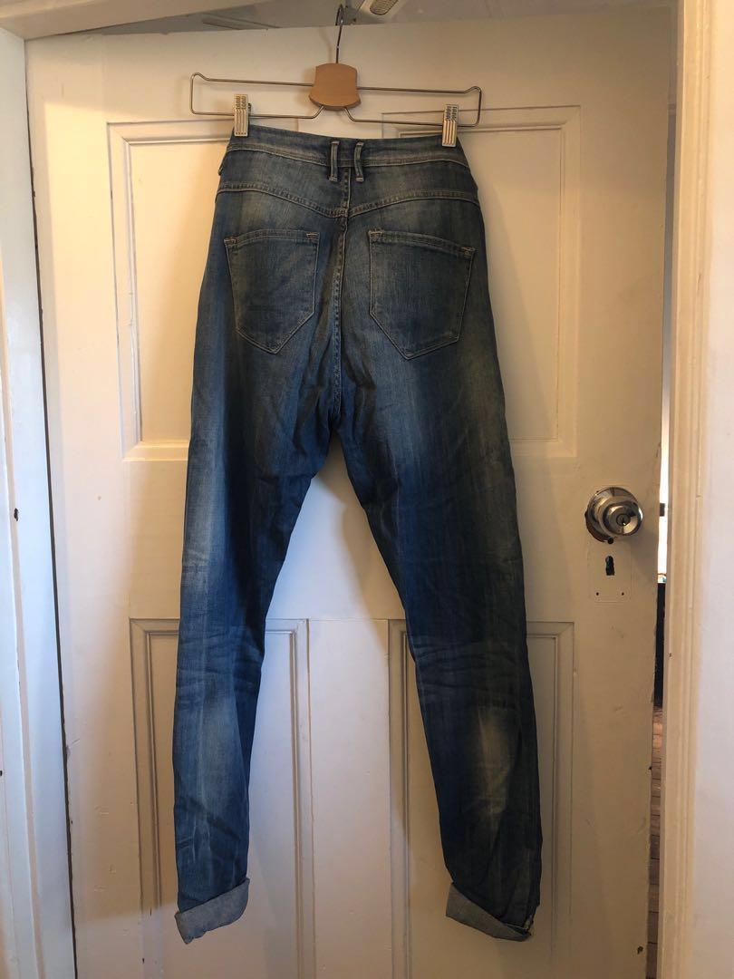 Ichi Drop Crutch Denim Jeans Vintage Distressed wash 25/32