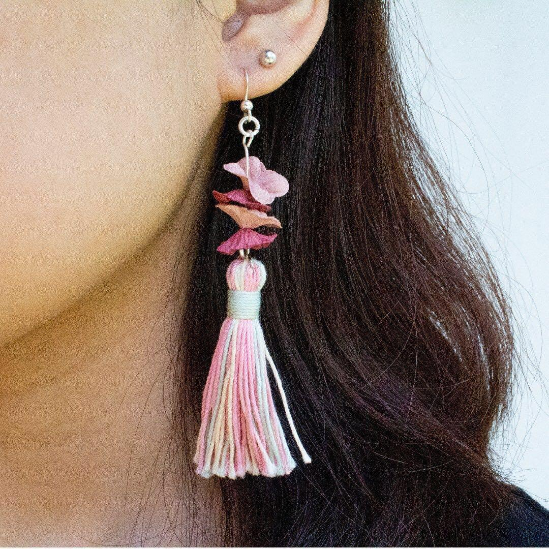 [Instock - Handmade] Floral Pastel Tassel Earrings