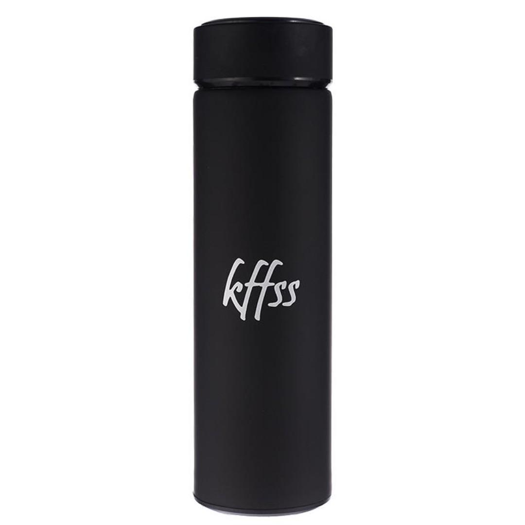 INSULATED STAINLESS STEEL WATER BOTTLE 500ml Travel Mug Vacuum Flask Thermos Swell Bottle Sports Bottle Free Tea Filter (Black)