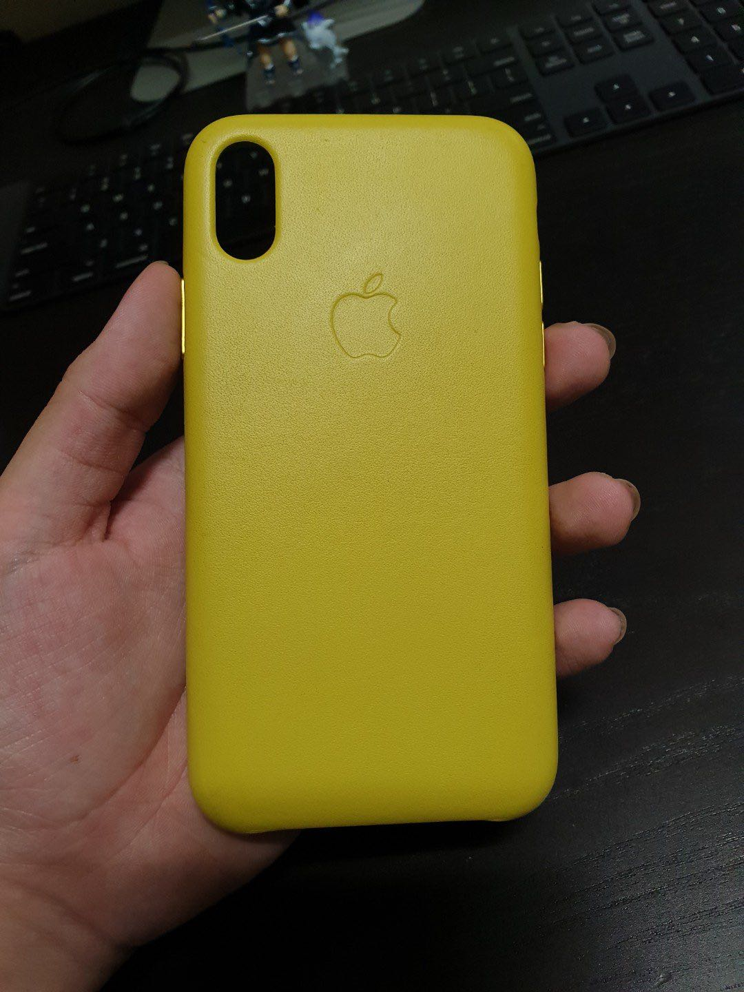 the best attitude b4f2b 52c4f iPhone X Spring Yellow Leather Case